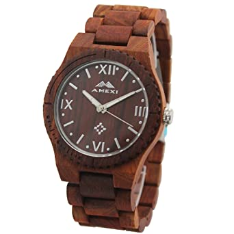 amexi mens wooden watches reddish sandal wood watch wood band amexi mens wooden watches reddish sandal wood watch wood band r numeral marks in red