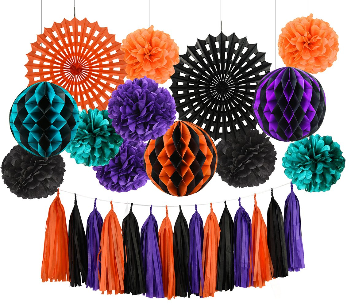 HappyField Halloween Party Decorations Tissue Pom Poms Tissue Paper Fans Tissue Honeycomb Balls Tissue Tassel Halloween Series Halloween Party Supplies Outdoor Decorations