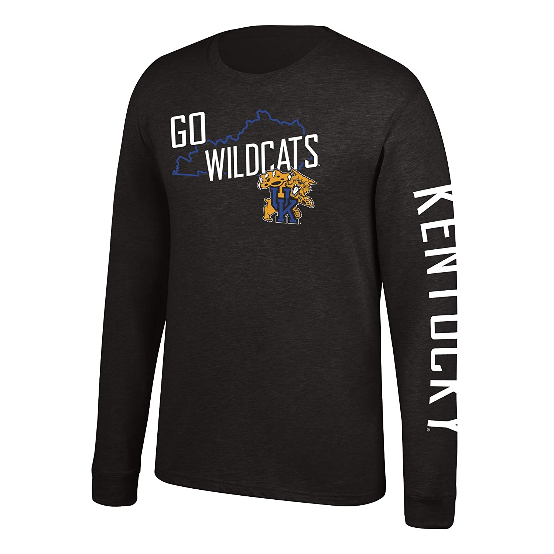Black J America NCAA Mens Kentucky Wildcats Classic Heather Long Sleeve Tee XX-Large