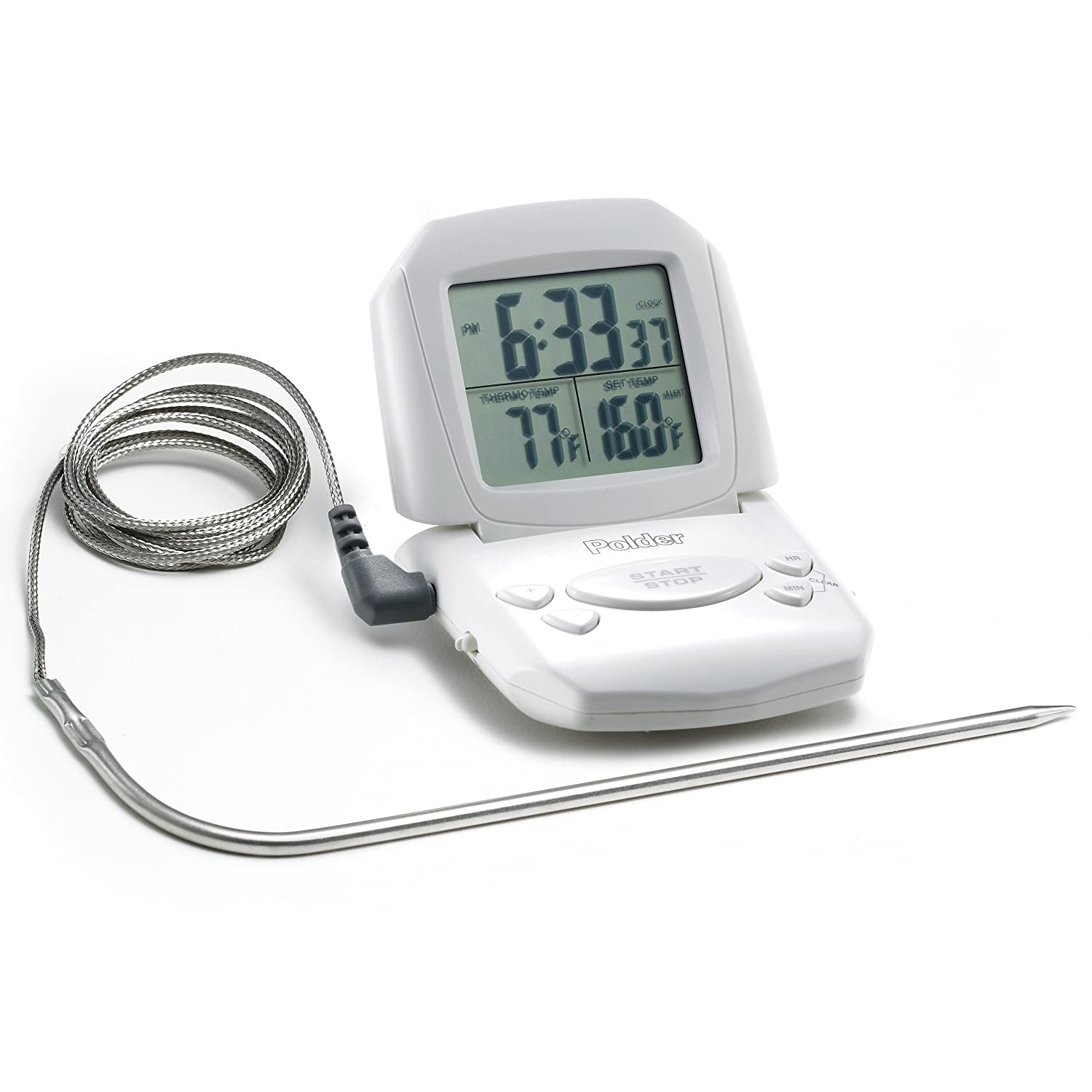 Polder 602-90 Digital Cooking Timer/Thermometer and Clock, White