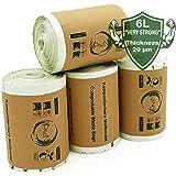 Rascan Bolsa Biodegradable (6 Litros x 200) Las Bolsas de Basura Perfectas Para su Compost. Grueso, Fuerte y Resistente al Desgarro |100% Compostable y Biodegradable | Hecho de Almidón de Maíz