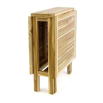 Divero Klapptisch Balkontisch Gartentisch Esstisch Teak Holz Natur  Unbehandelt Tisch Für Terrasse Balkon Wintergarten Witterungsbeständig  Massiv