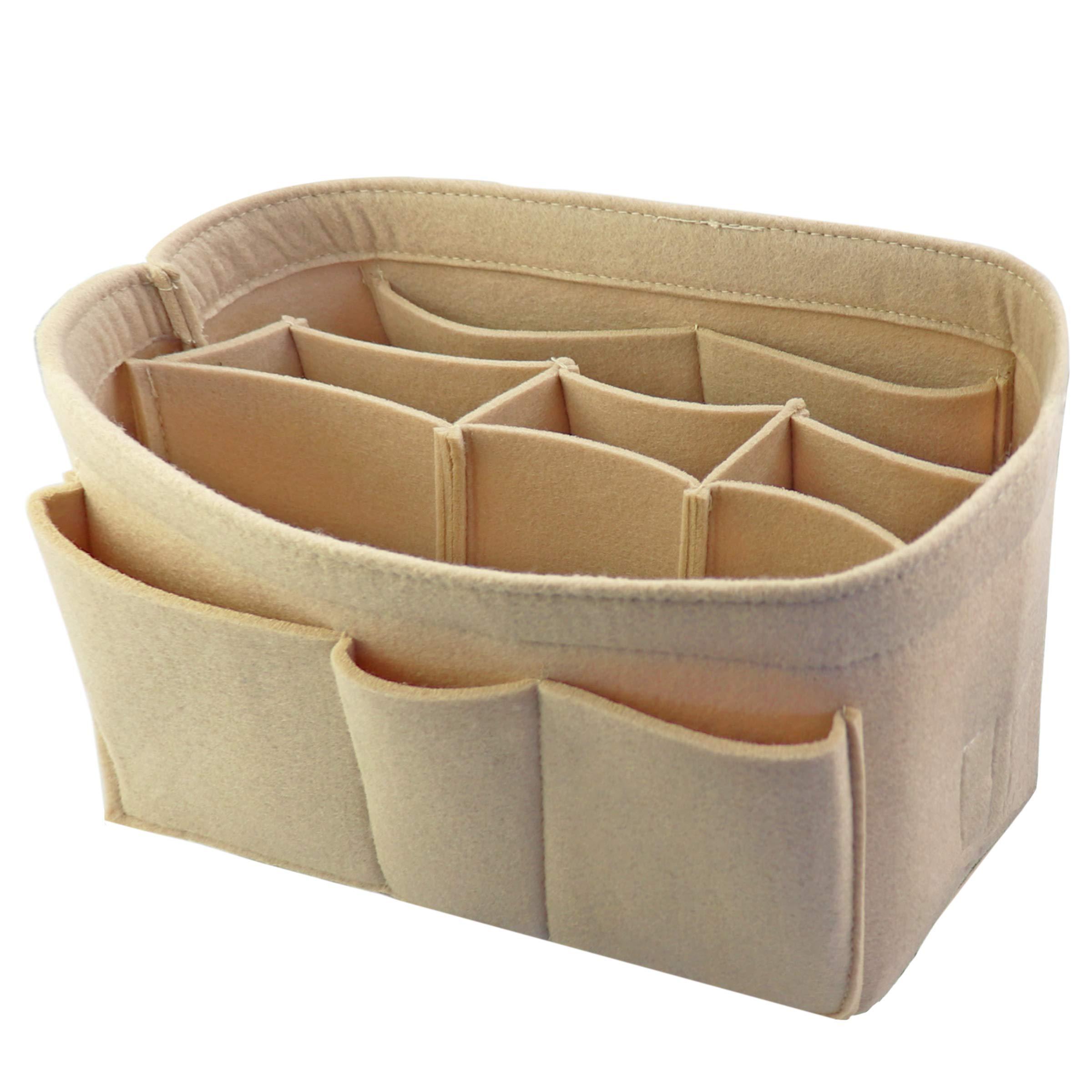 Felt Fabric Handbag Purse Insert Organizer Bag 10 Pockets Bag in Bag 3mm Felt (Medium, Beige)