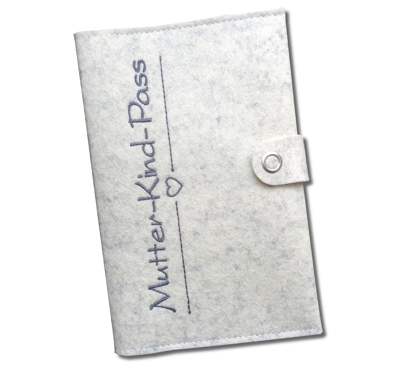 Grau in Deutschland hergestellt nur passend f/ür den deutschen Mutterpass Mutterpassh/ülle Deluxe mit extra F/ächern und Verschluss aus 100/% Wollfilz