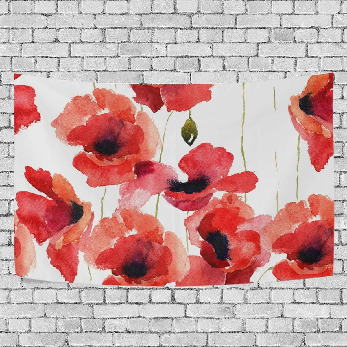 JSTEL Stylized Poppy Flowers Illustration Tapestry Wall Hanging Decoration for Apartment Home Decor Living Room Table Throw Bedspread Dorm 90 x 60 inches