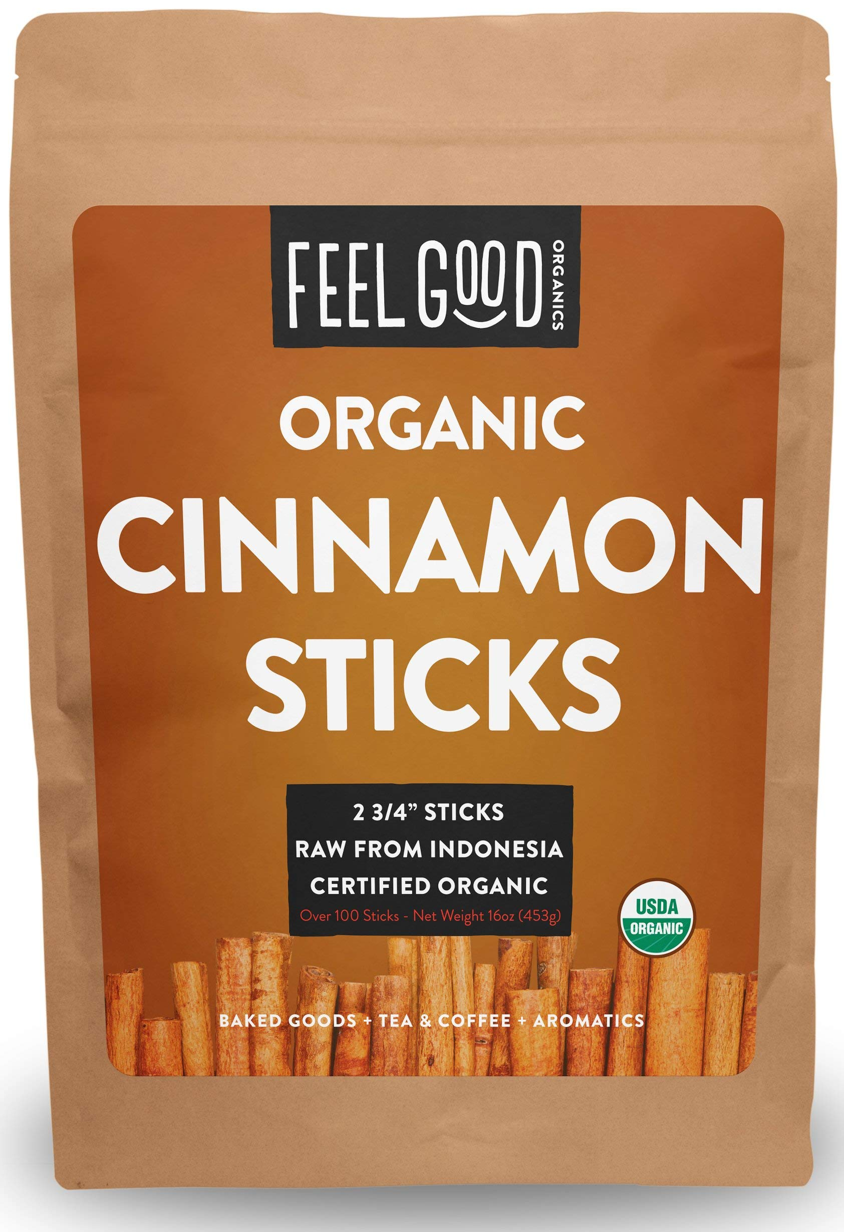 """Organic Korintje Cinnamon Sticks - Perfect for Baking, Cooking & Beverages - 100+ Sticks - 2 3/4"""" Length - 100% Raw From Indonesia - by Feel Good Organics"""