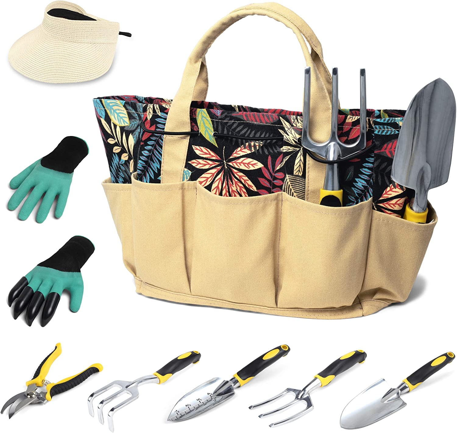GOODROAD Garden Tool Set for Women, Garden Tools for Gardening with Stylish Floral Tote, Gardening Set, 8 Pieces Garden Kit Heavy Duty, Include Woman Gloves and Sun Visor