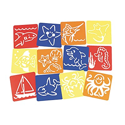 "Fun Express Under The Sea! 5"" Stencils, S/12 - 12 Pieces - Educational and Learning Activities for Kids: Toys & Games"
