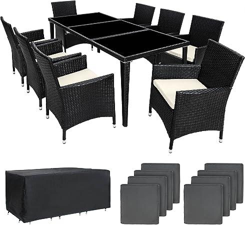 TecTake Salon de jardin en aluminium résine tressée poly rotin table   8  fauteuils   Deux set de housses + habillage pluie inclus   -diverses  couleurs ...