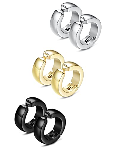 ed8ff05022ead8 LOYALLOOK 3-4 Pairs Stainless Steel Clip On Earrings Huggie Ear Cuff Hoops  for Mens