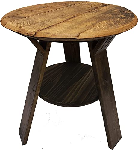 Bourbon Collection Whiskey Barrel Round Top End Table Rustic Wood Side Table