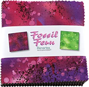"""Benartex Fossil Fern Cotton Fabric 5"""" Squares Charm Pack Quilting Fabric Material for Sewing, 100 Cotton Square Pieces"""