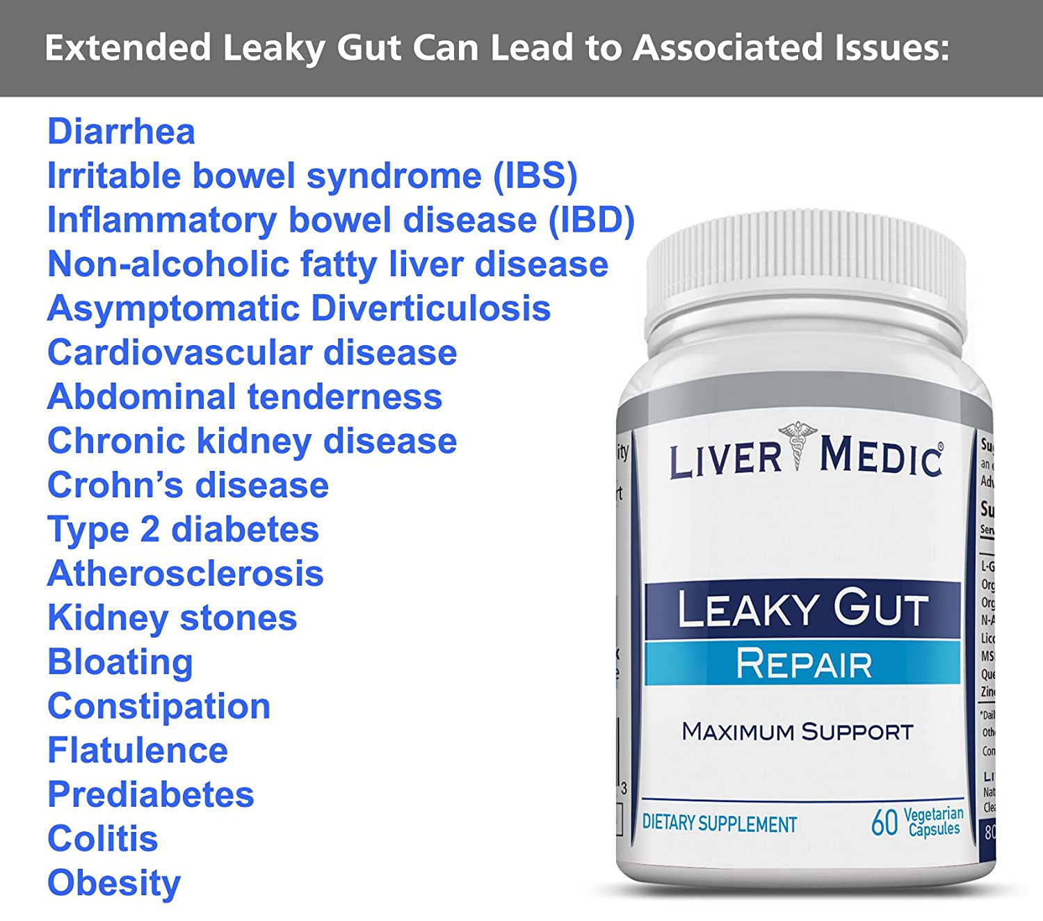 Details about Leaky Gut Repair Supplements by Liver Medic | Best Gut Repair  Healing Support