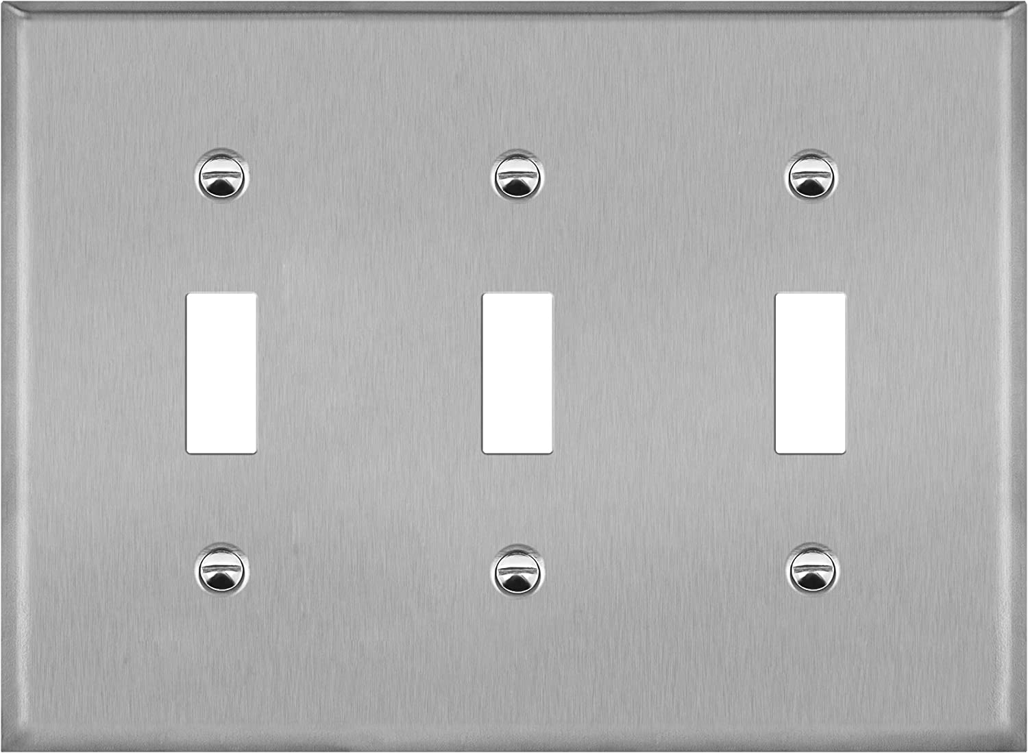 """ENERLITES Toggle Light Switch Stainless Steel Wall Plate, Metal Corrosive Resistant Cover for Rotary Dimmers and Lights Switches, 3-Gang 4.50"""" x 6.38"""", 7713, 430 Stainless Steel, UL Listed, Silver"""