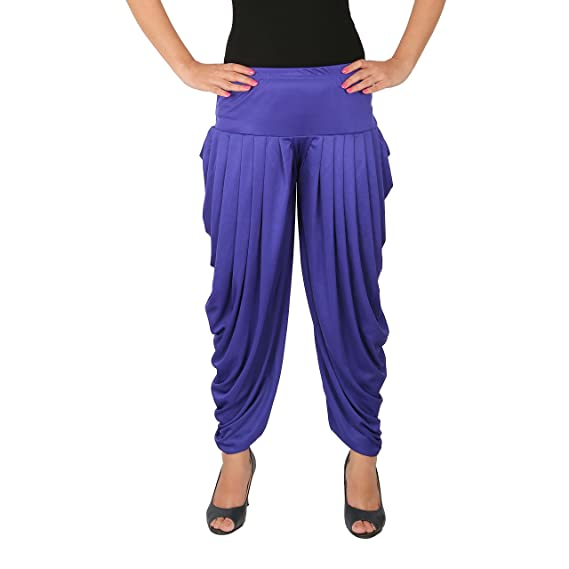 6a06feafe57 Culture the Dignity Women s Lycra Side Pleated Harem Pant Dhoti Patiala  Salwar Aladdin Pant - Blue