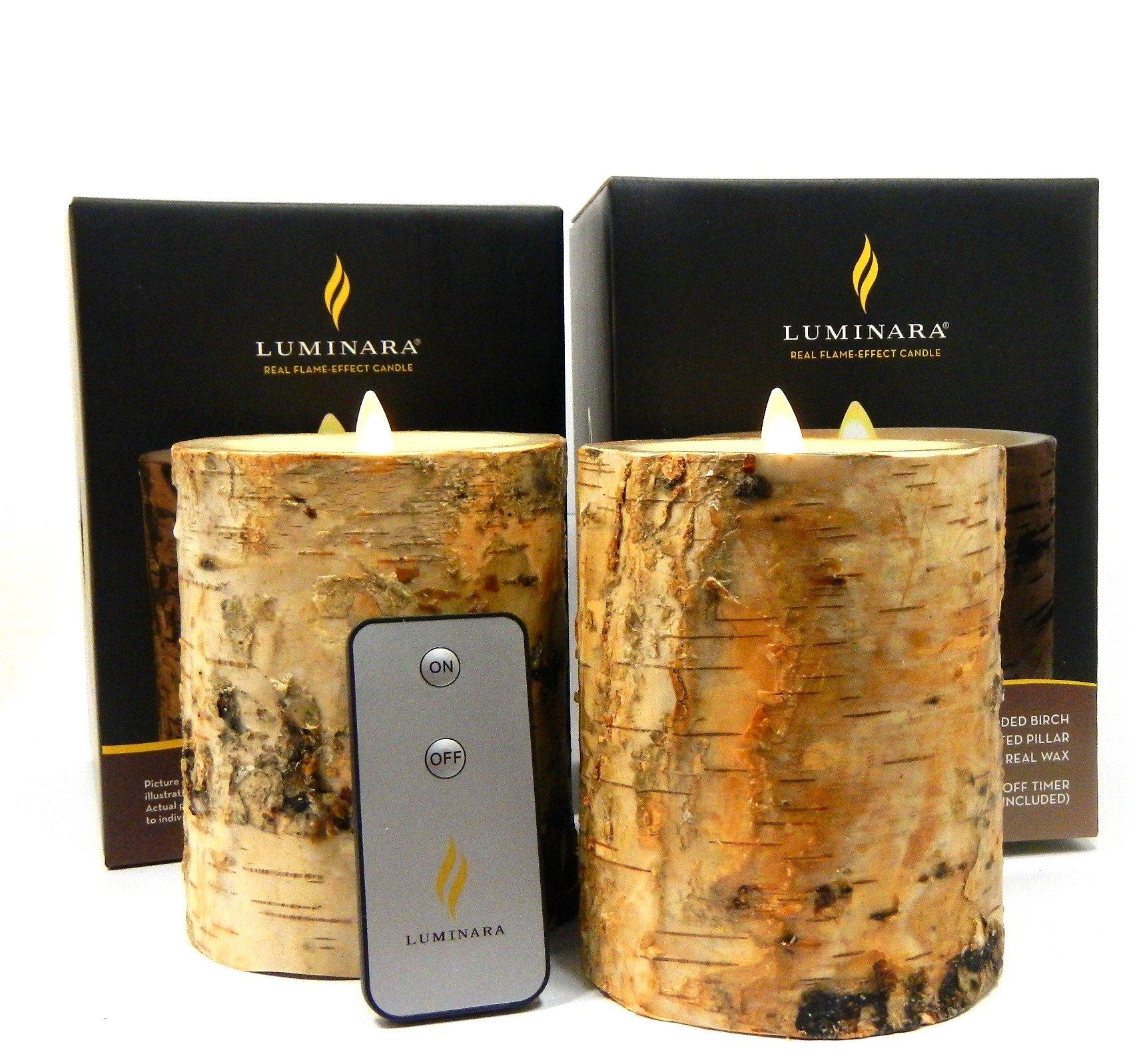 2pc Luminara BIRCH BARK Flameless Candle 5'' In. Tall Wax Pillar Set 4'' In. Diameter w/ REAL BIRCH WOOD | Bonus Remote Control Included by Luminara