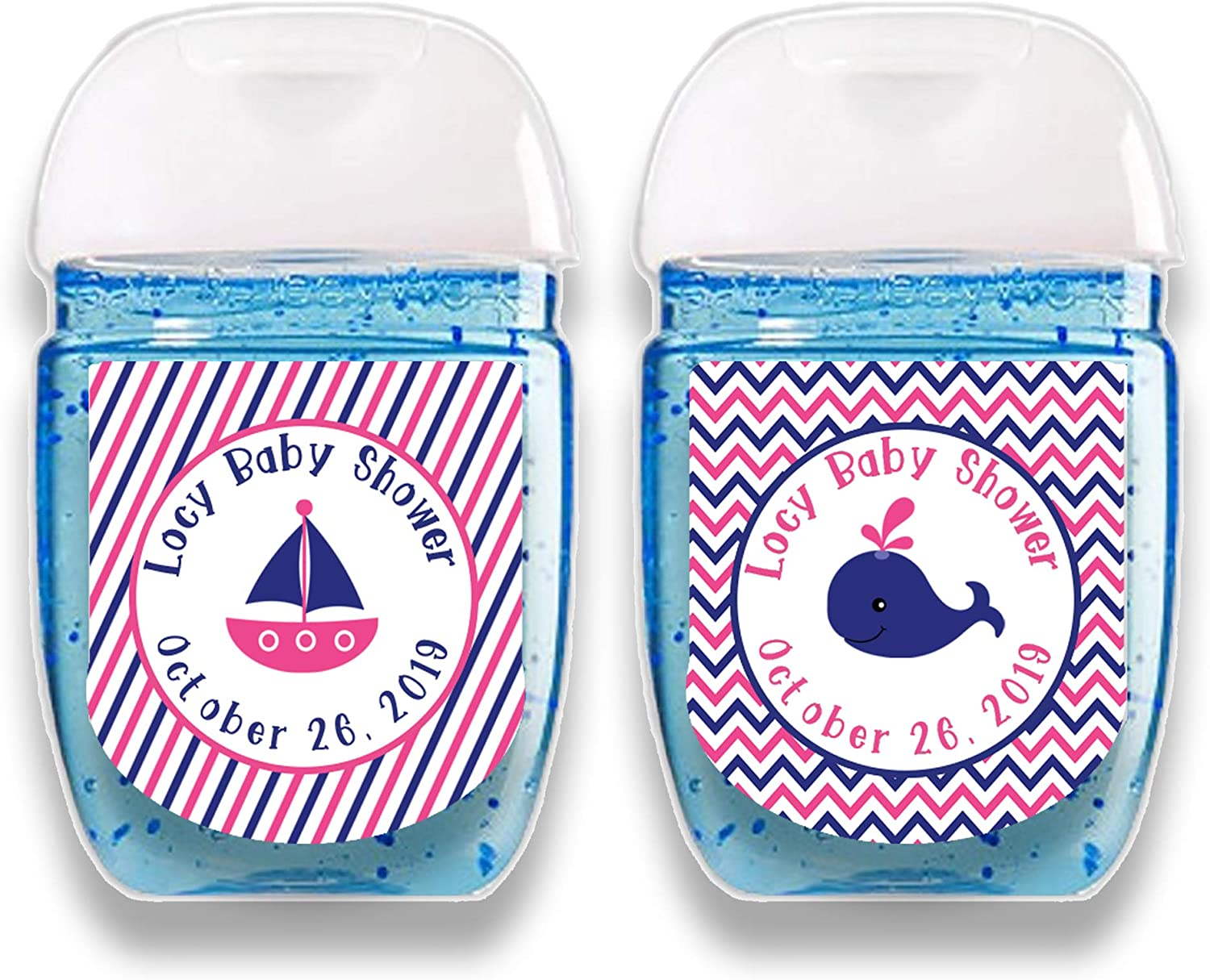 30 Baby Shower Favor Stickers//Labels Hand Sanitizer Nautical Whale Weatherproof