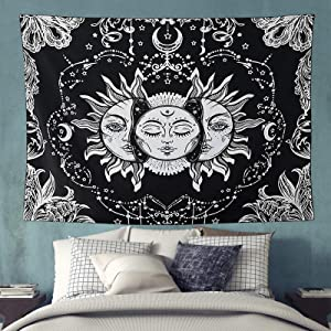 FairDew Wall Cloth Decor Tapestry for Living Room, Large Tapestry Wall Hanging for Bedroom, Sun and Moon Wall Blanket Decorations for Bedroom Trippy
