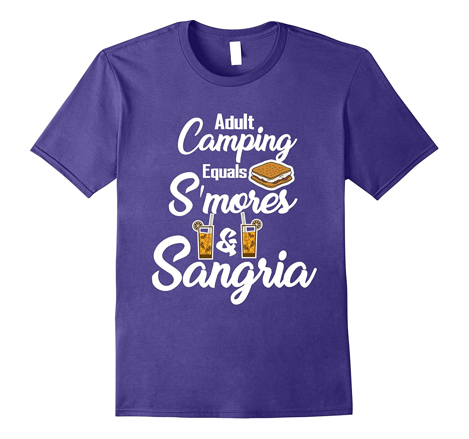 Adult Camping Equals S'mores & Sangria Funny T-Shirt-TH