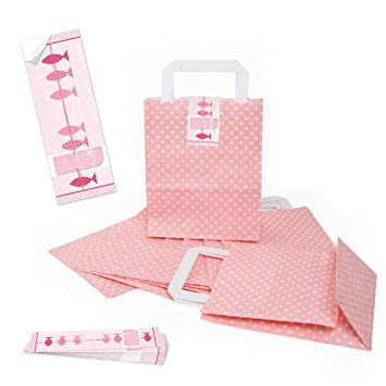 Logbuch-Verlag - Bolsas de papel con diseño de puntos rosas ...