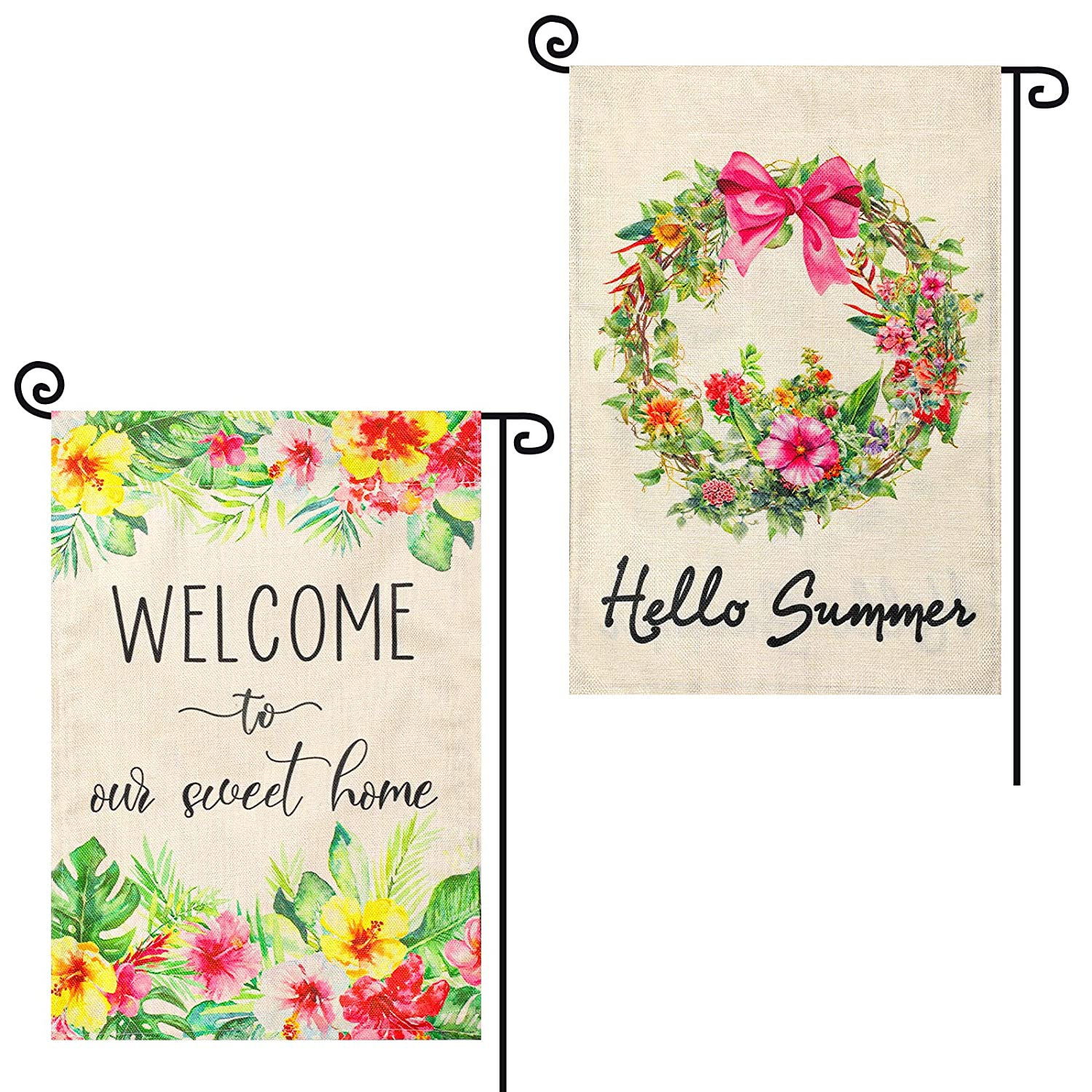 STSUNEU Hello Summer Garden Flag 12x18 Inch Double Sided, 2Pcs Flower Garden Flags Summer Welcome to Sweet Home Small Burlap Vertical Full of Summer Vitality for Outdoor Yard Decoration