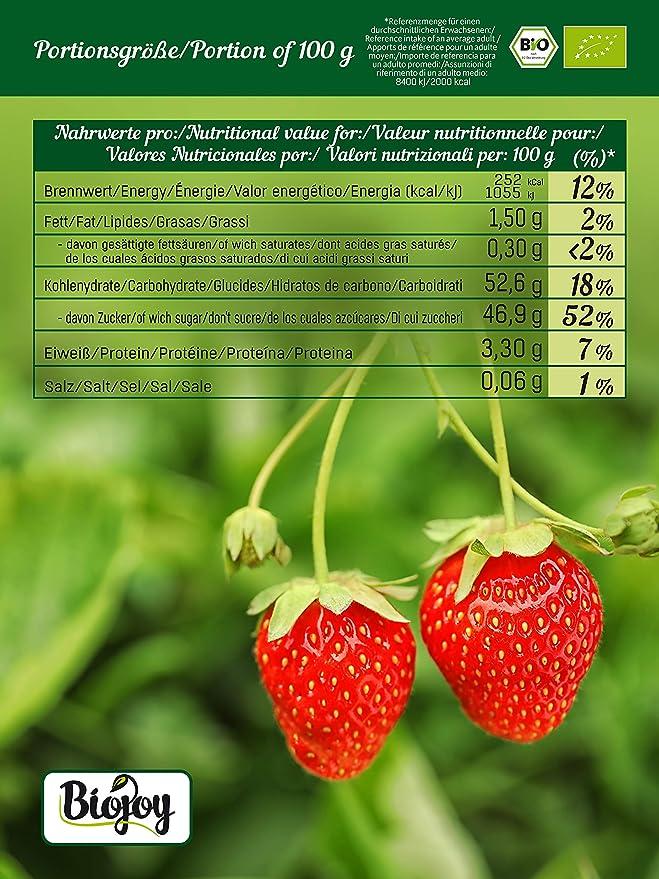 Biojoy Fresas deshidratadas BIO, endulzadas con un poco de zumo concentrado de manzana orgánico (0,5 kg)