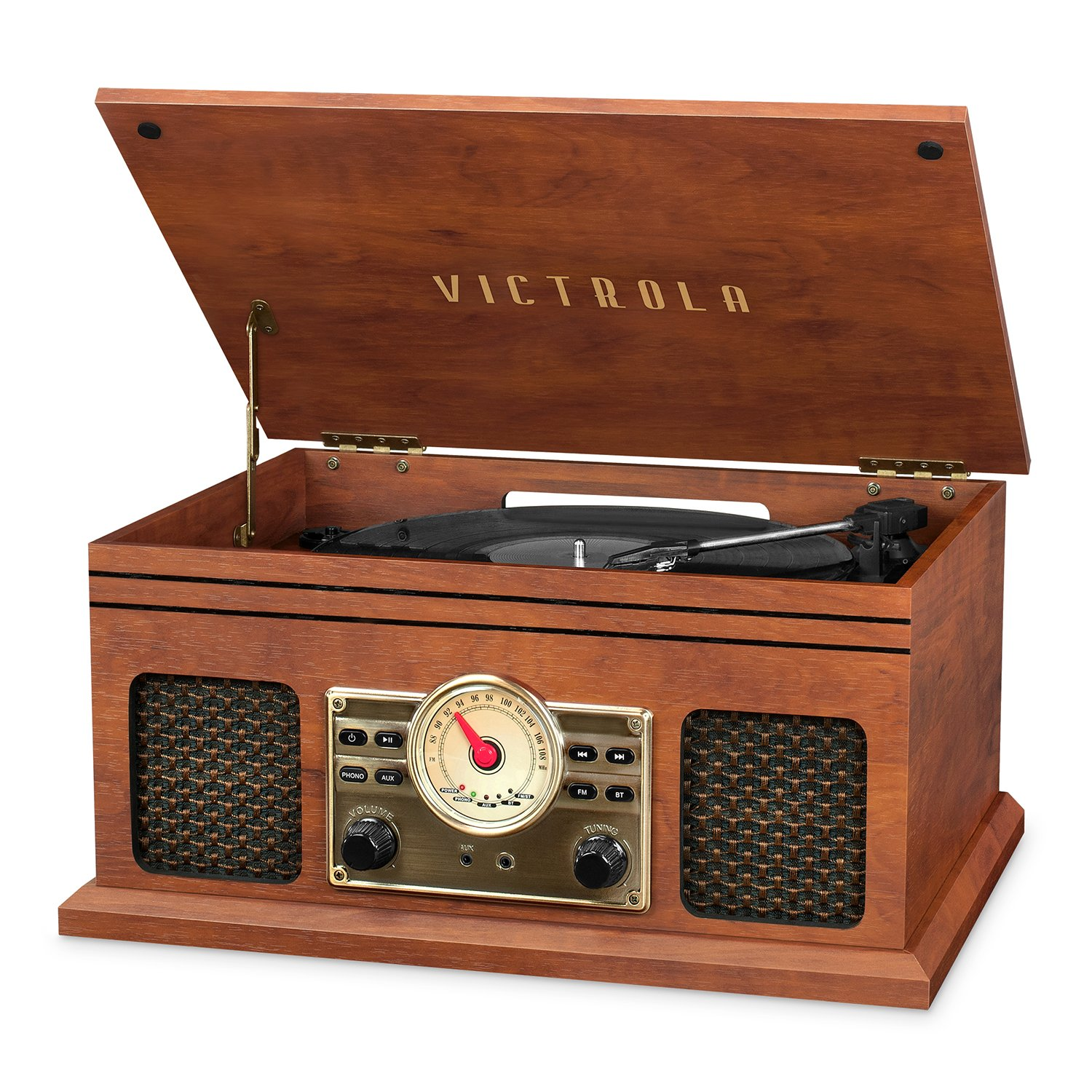 Victrola VTA-250B-MAH 4-in-1 Nostalgic Bluetooth Record Player with 3-Speed Turntable FM Radio and AUX-in Mahogany Innovative Technology
