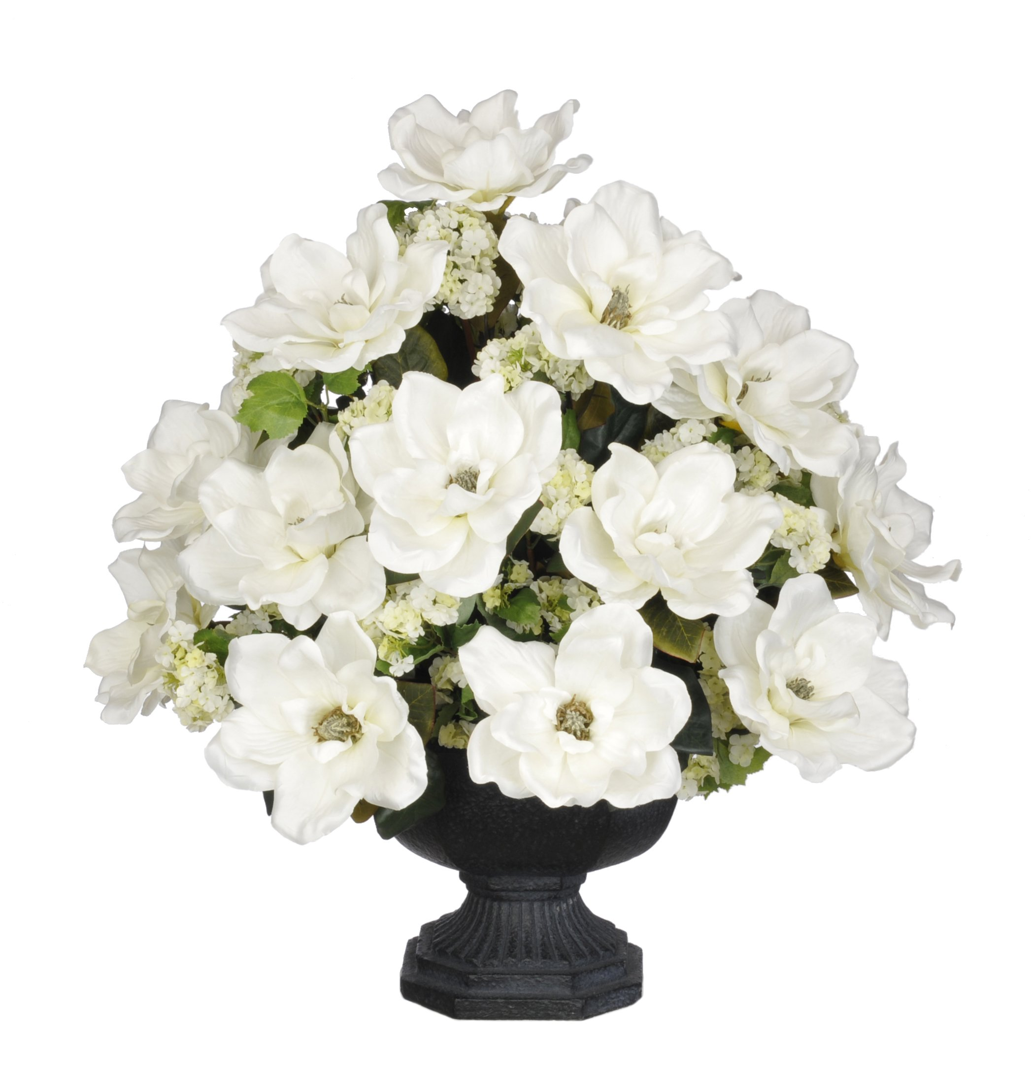 House-of-Silk-Flowers-Artificial-White-Magnolia-with-Snowball-in-Black-Garden-Urn