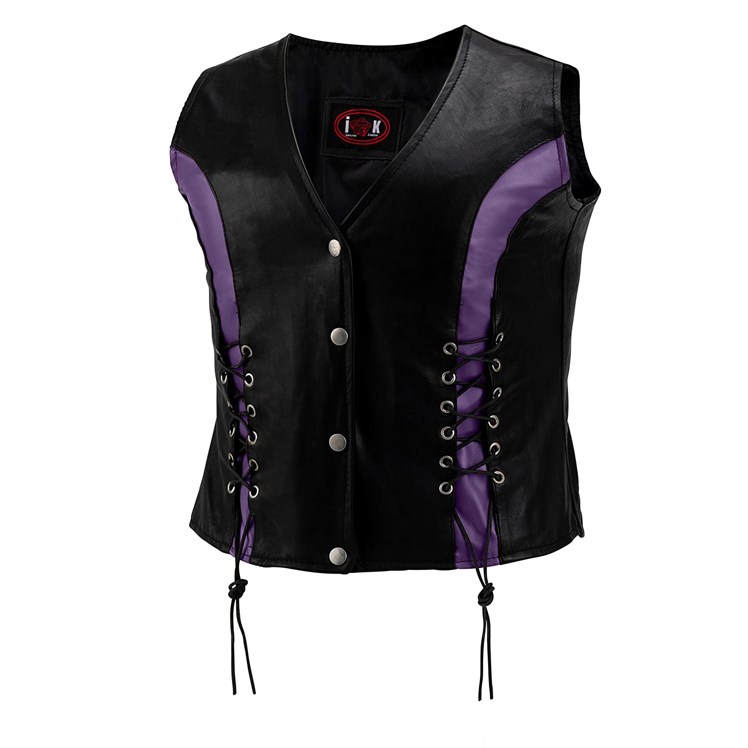 4X The Nekid Cow Purple Accents- Satin Lined Womens Premium Genuine Leather Motorcycle Ladies Lightweight Bikers Riding Vest with Front Lacing