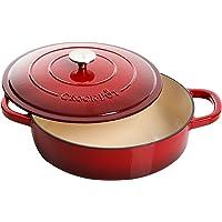 Crock Pot Artisan - Sartén de hierro fundido esmaltado de 5 cuartos, color rojo escarlata