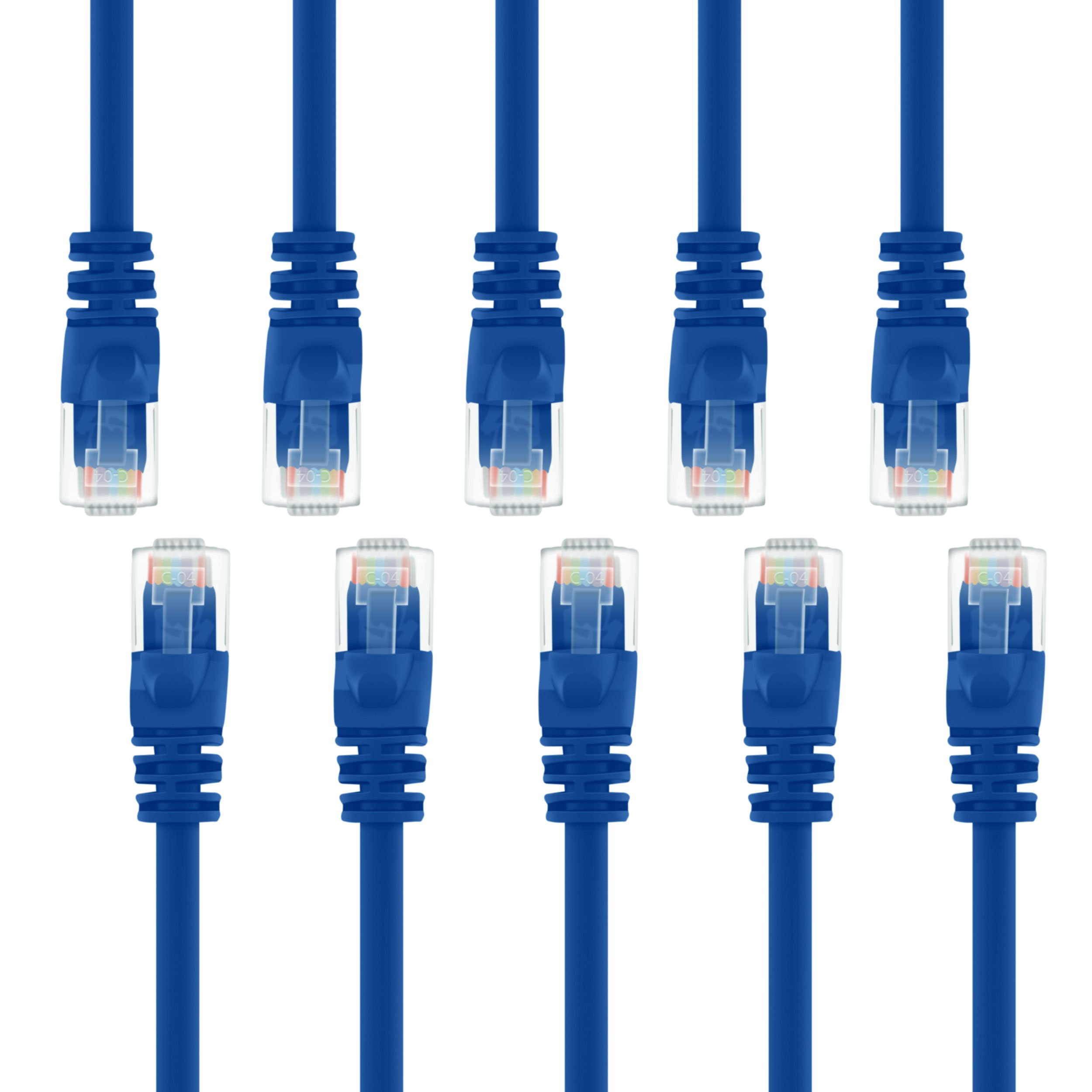 GearIT 10-Pack, Cat5e Ethernet Patch Cable 10 Feet - Snagless RJ45 Computer LAN Network Cord, Blue - Compatible with 10 Port Switch POE 10port Gigabit