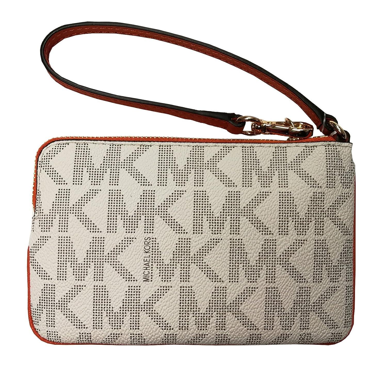 a8853852982279 Amazon.com: Michael Kors Center Stripe Jst Medium Top Zip Wristlet  Vanilla/Tangerine: Clothing