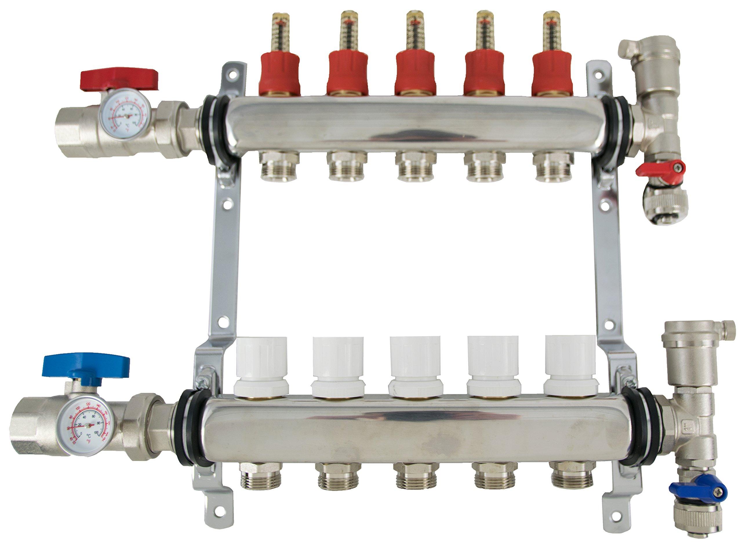 New 5 Loop 1/2'' Pex Manifold Stainless Steel Radiant Floor Heating Set / Five Branch Kit from VIVO (PEX-M12-5)
