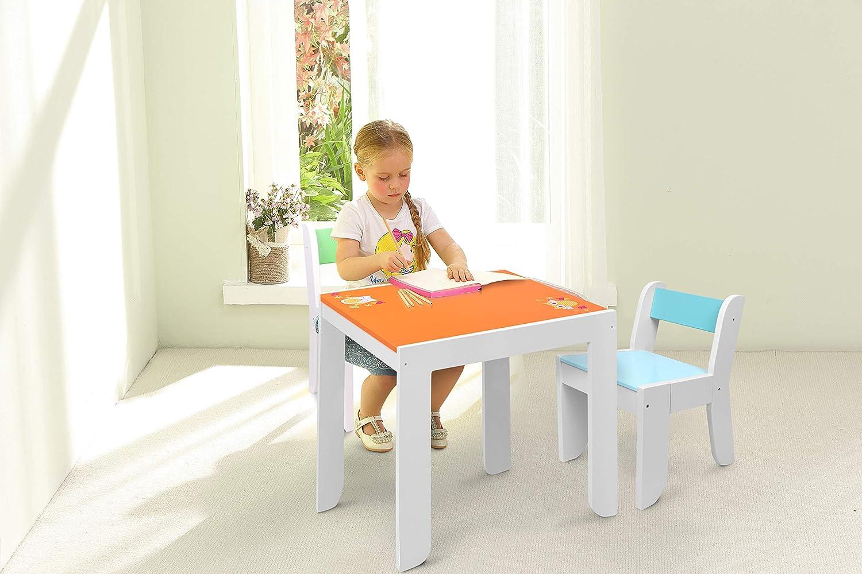 Tavolino Legno Bambino//Tavolo Gioco Bambino//Tavolino Multiattivita Legno//Tavolino Gioco Bambino ☝ Labebe Mobili Bambini di Tavolo Bambino di Gufo Arancione Set Tavolino Bambino Legno per 1-5 Anni