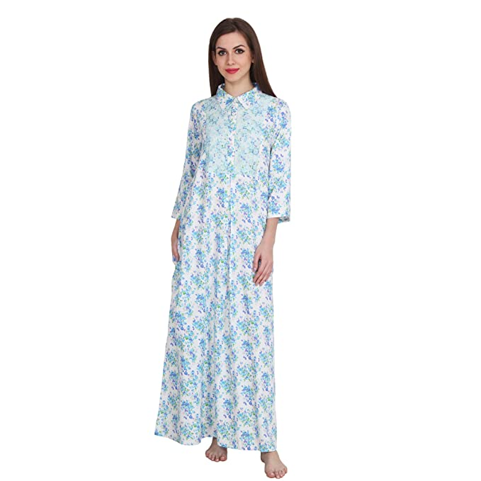 bc4525d641 Patrorna Women s Lace Blouson Collar Shift Floral Print Night Gown Dress  (11PA030MCPBS