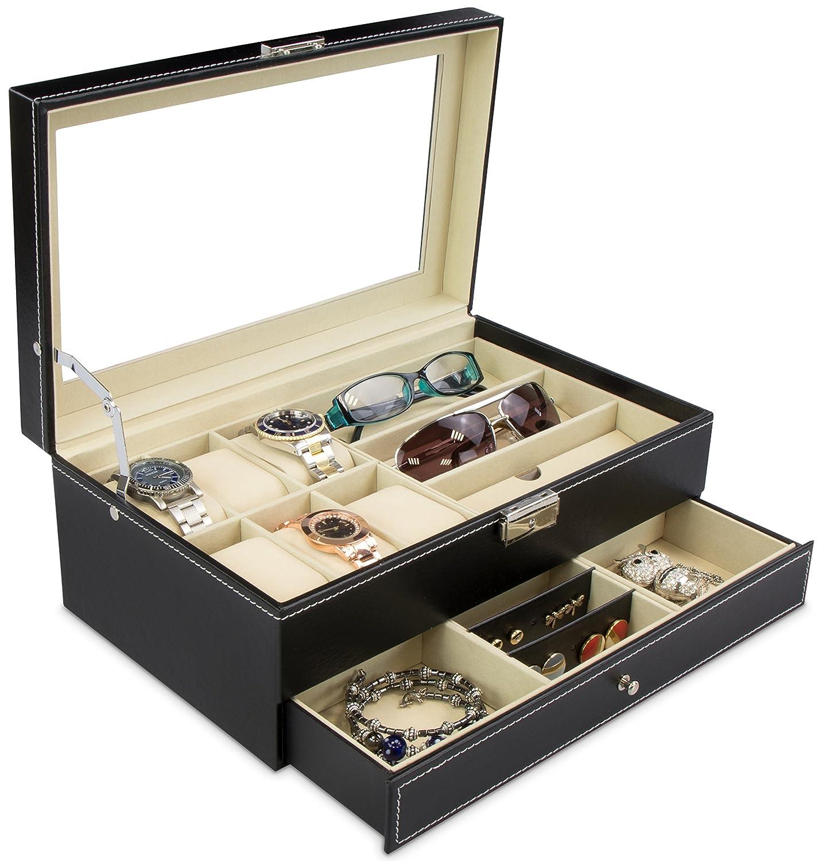 Contenitore espositivo per gioielli e occhiali - Nero ca. 33 x 20 x 13 cm - Bauletto con cassetto e vetro - Grinscard