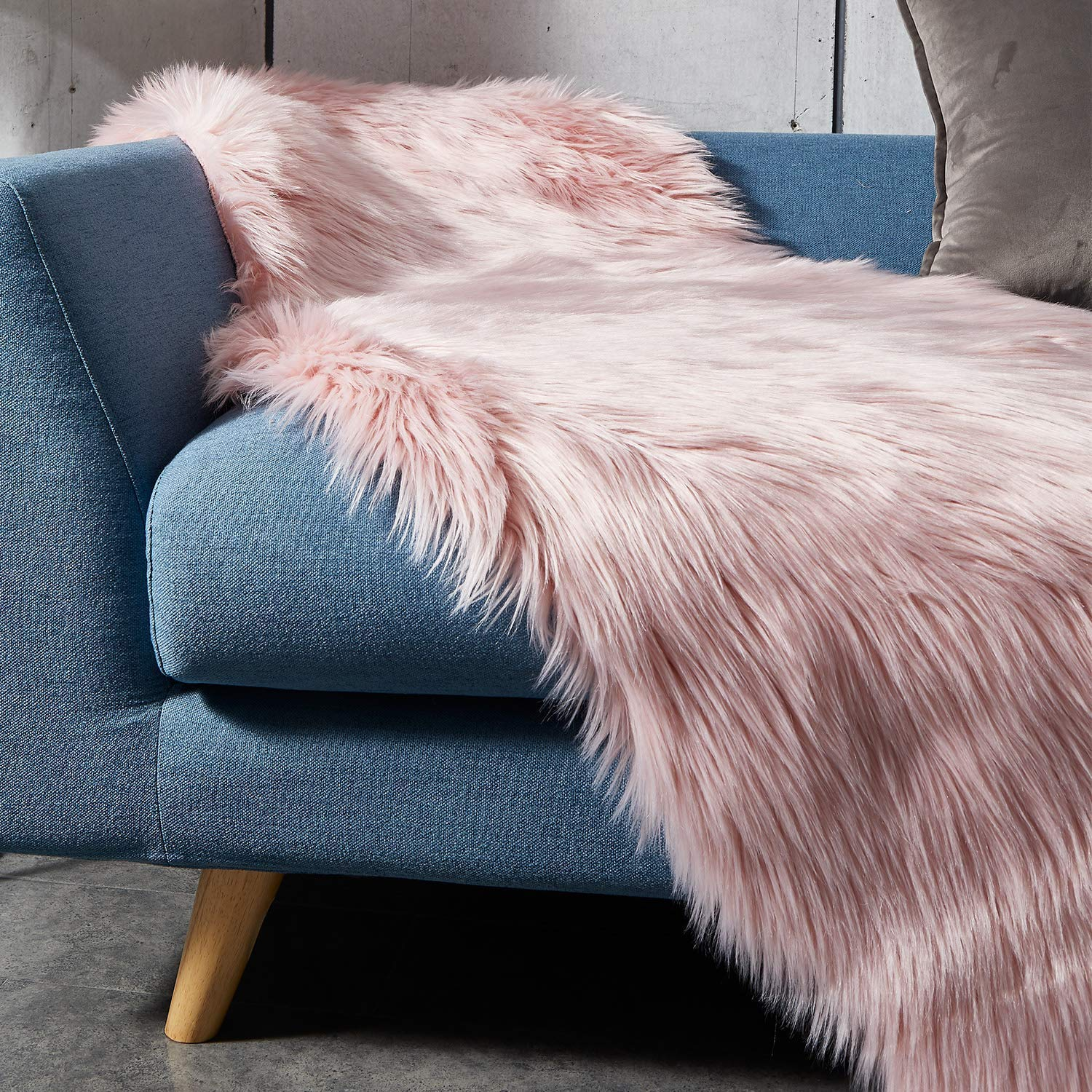 Stools And Sofa Faux Fur Rug Furry Carpet Or Throw For Chairs Grey 50x80cm Zczuox Faux Sheepskin Fluffy Rug For The Bedroom Living Room Or Nursery Area Rugs