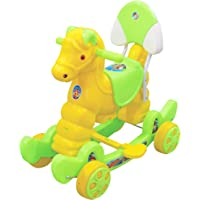 eHomeKart Rocking Horse Ride On for Kids - Murphy Super 2-in-1 Musical Horse Rocker Cum Ride On Toy with Backrest - Ideal Age - 1 Year to 3 Years , Weight Supported - Upto 25 KG- Green