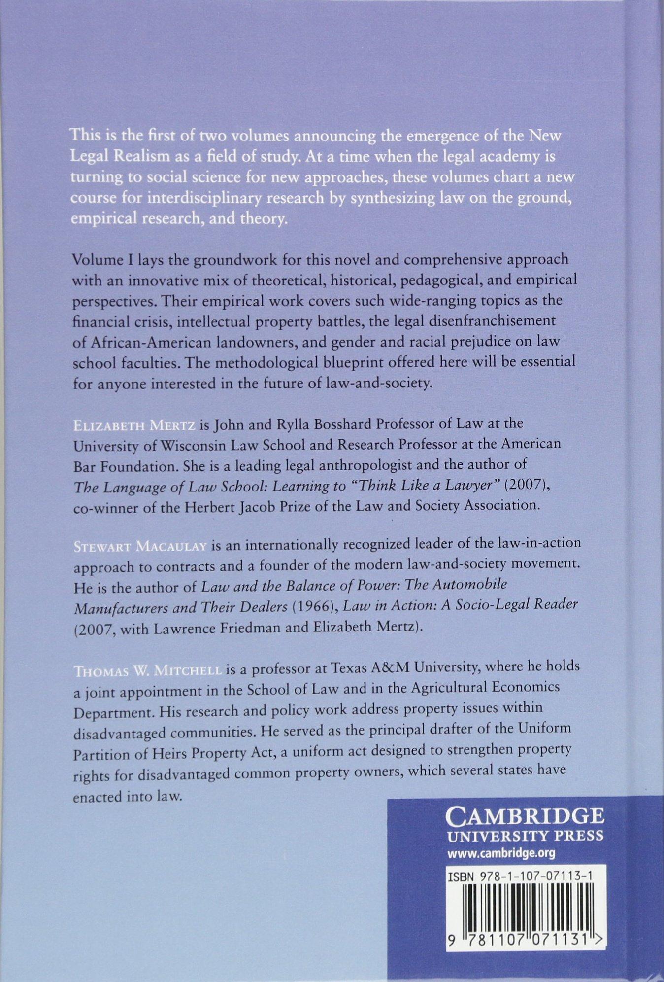 The new legal realism volume 1 translating law and society for the new legal realism volume 1 translating law and society for todays legal practice amazon elizabeth mertz stewart macaulay malvernweather Choice Image