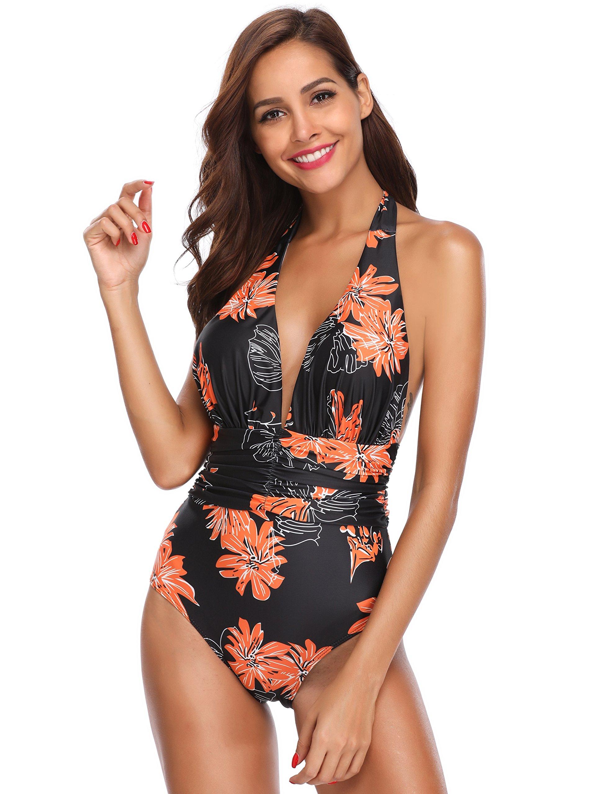 MarinaVida Women V Neck One Piece Swimsuit Halter Bathing Suits