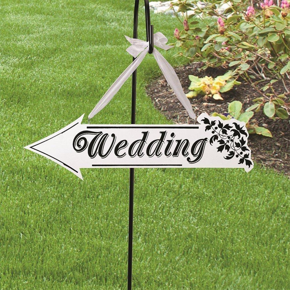 con scritta Wedding Outflower da appendere look chic vintage segnale direzionale bianco in legno a forma di freccia