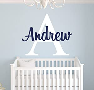 Custom Name Monogram Wall Decal for Boys - Nursery Wall Decals - Personalized Name Wall Decor Vinyl Sticker