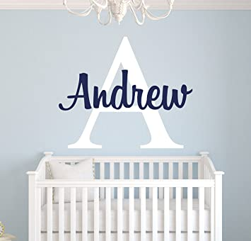 b988a431b4c3 Amazon.com  Custom Name Monogram Wall Decal for Boys - Nursery Wall Decals  - Personalized Name Wall Decor Vinyl Sticker  Baby