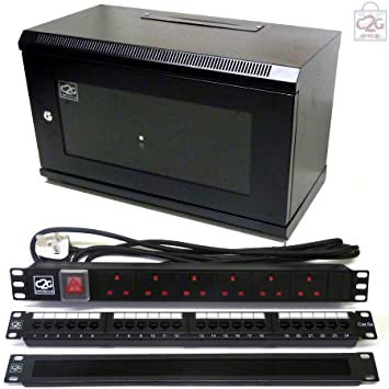 Genial 6U 450mm Black Wall Cabinet + C5e Patch Panel + 6 Way PDU + Brush Bar