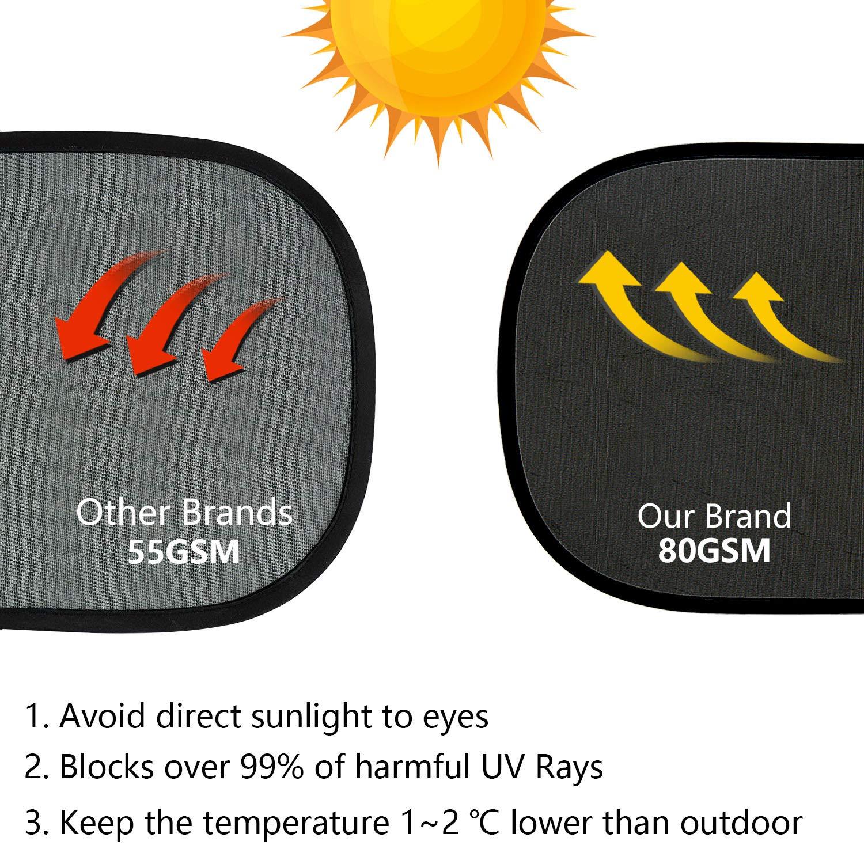 ZOEON Auto Sonnenschutz Baby Selbsthaftende Auto Sonnenblende 4 St/ück UV-Strahlen f/ür Kinder und Haustiere blockieren gratis Tasche