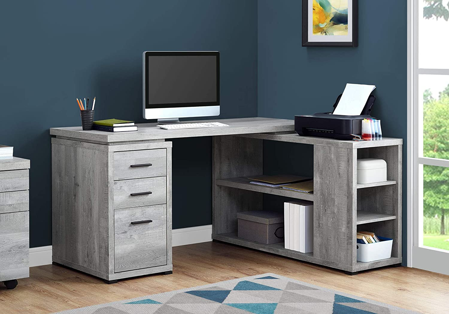 Monarch Specialties Computer Desk L-Shaped Corner Desk with storage – Left or Right Facing – 60 L Grey Reclaimed Wood Look