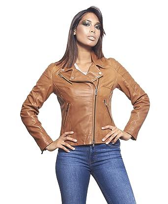 30ca12edd2be D Arienzo - KBC • Couleur Cognac • Veste en Cuir Femme Perfecto Cuir Aspect  Vintage  Amazon.fr  Vêtements et accessoires