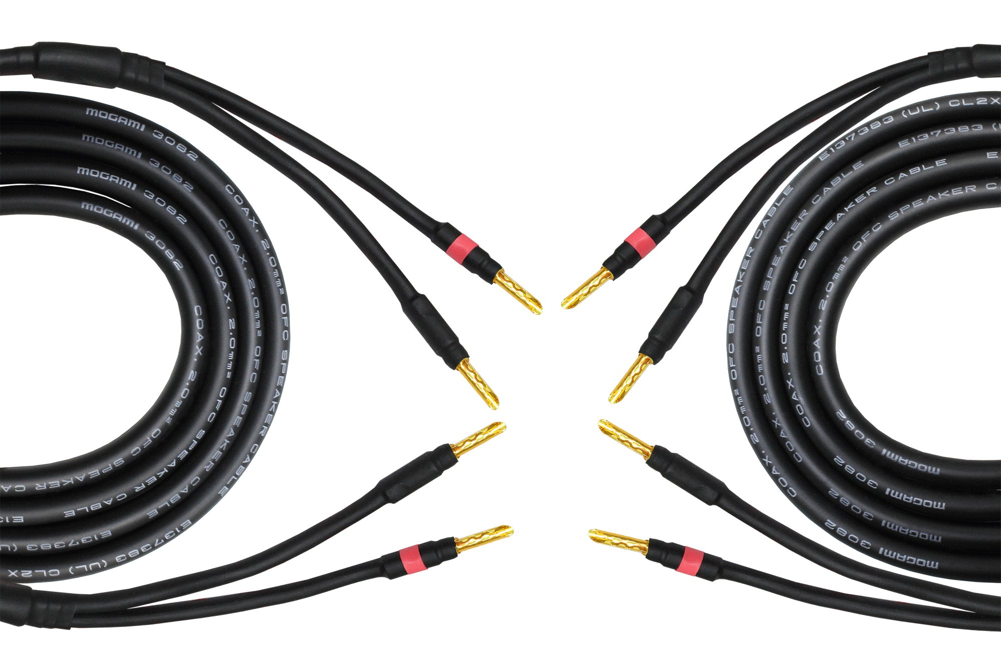 10 Foot - Coaxial Audiophile Speaker Cable Pair Custom Made by WORLDS BEST CABLES - Using Mogami 3082 Wire & Eminence Gold Plated Banana Plugs (2 Plugs on Each end)