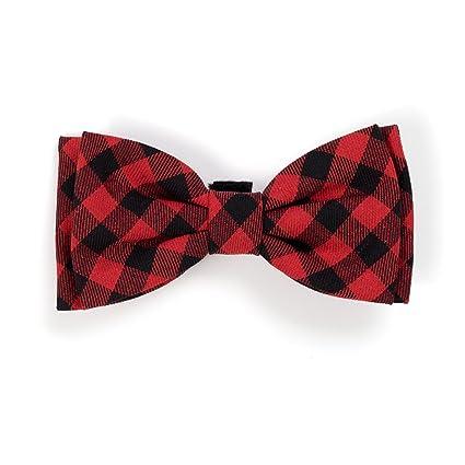 612be05c1200 Amazon.com : Buffalo Plaid Bow Tie, Red/Black, L : Pet Supplies