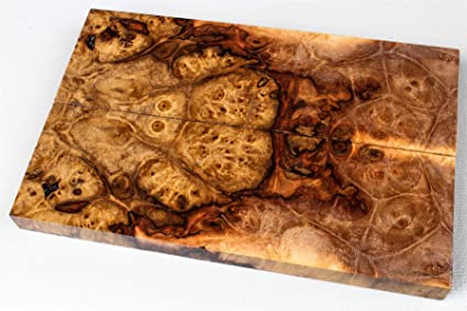 High Figure Maple Burl Knife Scales, 1911 Grips, Stabilized